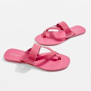 NEW top shop pink leather sandals